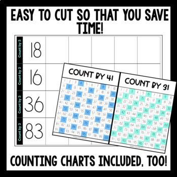 MATH BUILDERS: Write & Wipe Skip Counting Strips - EDITABLE