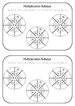 math bullseye multiplication practice 3 6 9 times tables