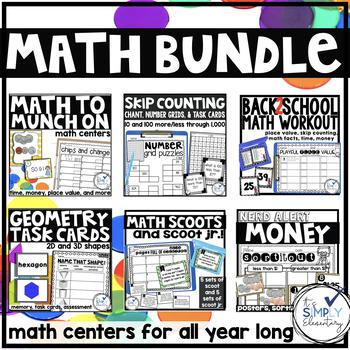 MATH BUNDLE 2nd grade math scoot, anchor charts, and task cards