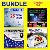 MATH BUNDLE - Math Facts - Fractions - Graphic Organizers - Calculator Riddles