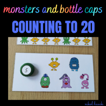 MATH BUSY BAGS: BOTTLE CAPS AND MONSTERS (COUNTING ACTIVITY 0-20)