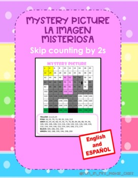 MATH CENTER:Skip counting by 2s, Mistery Picture (English-Spanish) Español ESOL