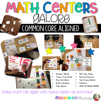 MATH CENTERS GALORE - CCSS Aligned - play-doh mats, games,