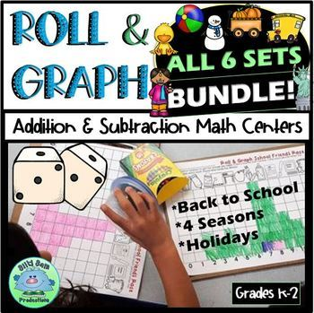 MATH CENTERS ROLL & GRAPH ALL 6 SETS Addition & Subtraction Partner Math
