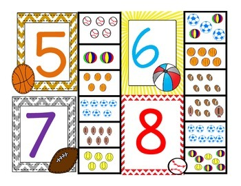 MATH CLIP IT COUNTING ** #S 1-11 NUMBER TO OBJECT MATCH ** SPORTS EDITION