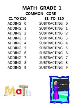 MATH COMMON CORE GRADE 1 - C1 TO C10 ADDITION E1 TO E10 SUBTRACTION ELEMENTARY