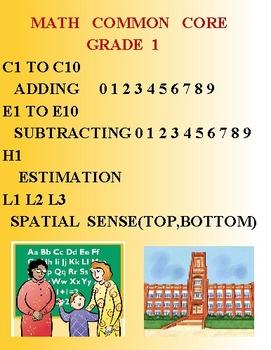 MATH COMMON CORE GRADE 1 - C1 TO C10 E1 TO E10 H1 L1 L2 L3 ELEMENTARY