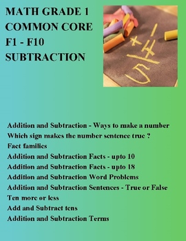 MATH COMMON CORE GRADE 1 - F1 To F10 - MIXED OPERATIONS ADDITION SUBTRACTION