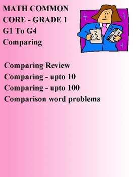 MATH COMMON CORE - GRADE 1 - G1 To G4 - COMPARING ELEMENTARY