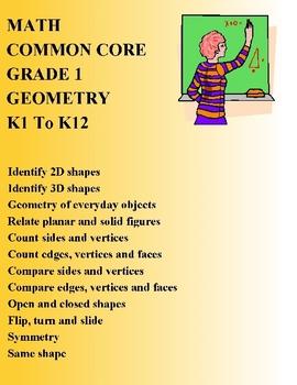MATH COMMON CORE GRADE 1 - K1 To K12 - GEOMETRY ELEMENTARY