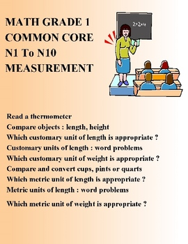 MATH COMMON CORE GRADE 1 - N1 To N9 - MEASUREMENT ELEMENTARY