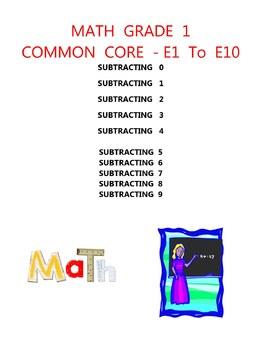 MATH COMMON CORE GRADE 1 - SUBTRACTION 0 1 2 3 4 5 6 7 8 9