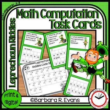 MATH COMPUTATION: Math Center, Math Task Cards, St. Patrick's Day Activity