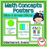 MATH CONCEPTS POSTERS Blue Green Theme Math Focus Wall Classroom Decor