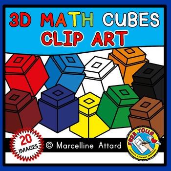 MATH CUBES CLIPART BUNDLE: STACKABLE CUBES CLIPART: 2D & 3D SETS