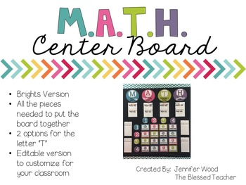 M.A.T.H. Center Board {Bright Colors}