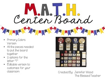 M.A.T.H. Center Board {Primary Colors}