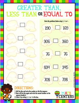 MATH Center Greater Than, Less Than and Equal To Activity/
