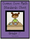 MATH Common Core-7th grade Standards Checklist-Proficiency Sheets