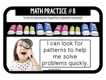 """MATH Common Core """"8 math practices""""- kid-friendly questions & statements posters"""