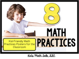 """8 math practices""- kid-friendly questions & statements posters"
