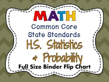 MATH Common Core: HS Statistics & Probability Full Size Binder Flip Chart