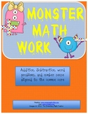MATH Common Core - Monster Math number sense and word problem work