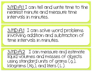 "MATH Common Core Printable ""I can..."" Standards- Grade 3"