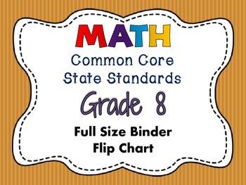 MATH Common Core Standards: Grade 8 Full Size Binder Flip Chart