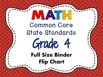 MATH Common Core State Standards: Grade 4 Full Size Binder Flip Chart