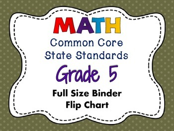 MATH Common Core State Standards: Grade 5 Full Size Binder