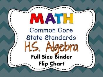 MATH Common Core State Standards:High School Algebra Full Size Binder Flip Chart