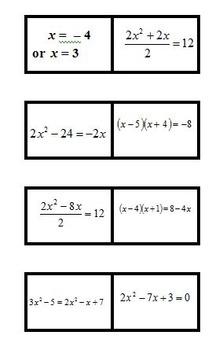 MATH DOMINOES - Solve Quadratic Equations