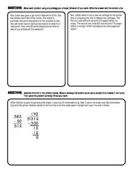 MATH Division Test (whole numbers, decimals, and remainders)