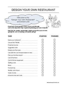 MATH ENRICHMENT UNIT - Design Your Own Restaurant