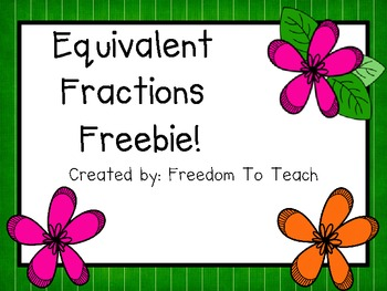 MATH Equivalent Fraction Sheet **FREEBIE** {Common Core}