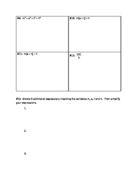 MATH Expressions Activity