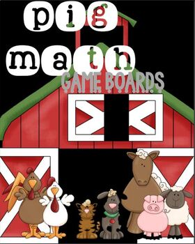 MATH FACTS Game Boards- PIG Math