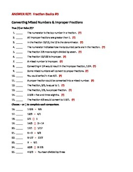 MATH FRACTIONS Basics Convert Mixed Numbers & Improper Fractions WORKSHEET #3