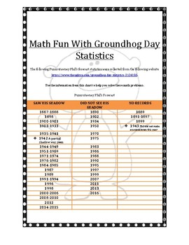 MATH FUN WITH GROUNDHOG DAY STATISTICS