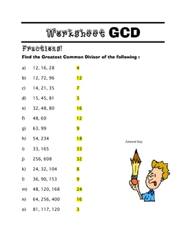 MATH Find the greatest common divisor worksheet and KEY