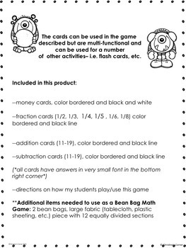 Fractions Money Addition Subtraction Math Game Cards PRINT and GO