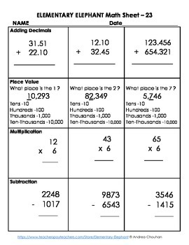 MATH Skill Sheet 23-Place Value, Add/Subt., Mult. by Elementary Elephant FREE