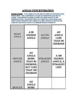 MATH GAME - ANGLE CONCENTRATION
