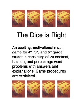 MATH GAME- THE DICE IS RIGHT