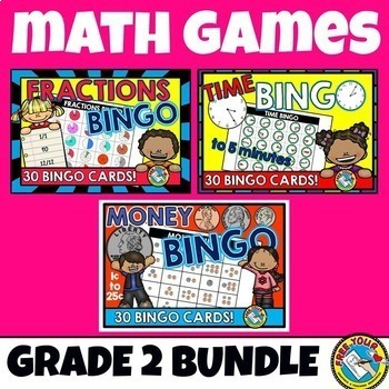 MATH GAMES: 2ND GRADE MATH BINGO BUNDLE