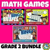 2ND GRADE MATH CENTERS (TIME, MONEY, FRACTIONS GAME BINGO BUNDLE)