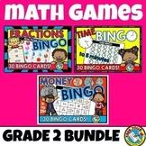 2ND GRADE MATH CENTERS (TIME, MONEY, FRACTIONS GAME BINGO BUNDLE)