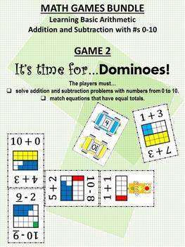 MATH GAMES BUNDLE: Addition/Subtraction, 0-10, 1st Grade CCS