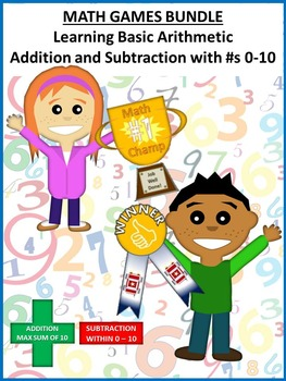 MATH GAMES BUNDLE: Addition/Subtraction, 0-10, 1st Grade CCS